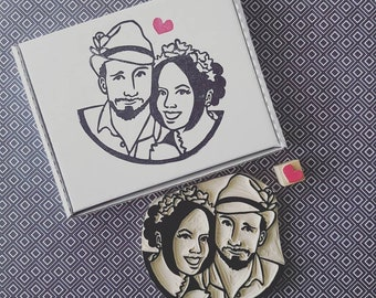 Custom Wedding Couples Stamp - rubber stamp, thank you custom stamp, portrait stamp