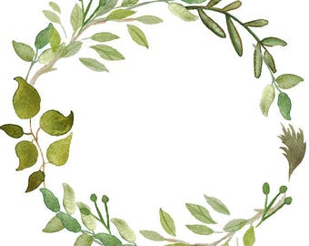 Greenery Clipart Leafy Wreath Watercolor Minimalist