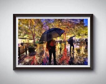 Seattle Art Poster Print, Seattle Rain Skyline Poster