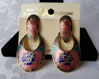 Vintage Cloisonne Earrings, Cloisonne Earrings, Cloisonne, Earrings