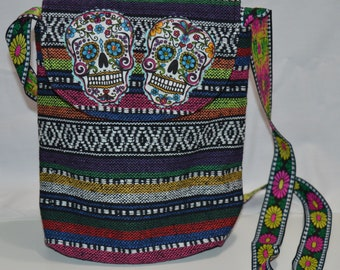 Day of the dead multicolored purse/ cross body bag, dia de los muertos purse