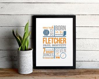 Baby Birth Announcement Poster • Unique Infographic Custom Baby Nursery Art • Navy & Orange Modern Baby Statistics Print