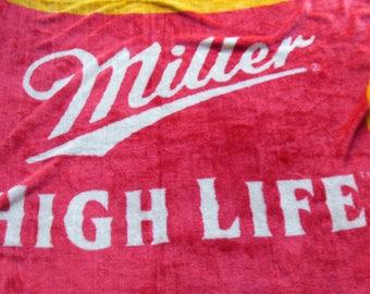 Miller Beer Emblem Shaped Blanket, Grommet Holes For Hanging