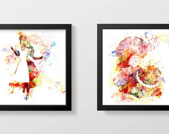 Large Cheshire Cat and Alice Print