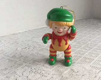 Vintage Ceramic Elf Christmas Tree Ornament /  Spring Loaded Posable Figurine