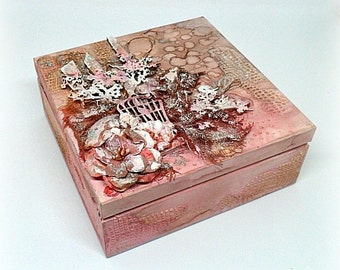 Mixed media box , mixed media treasury box , wooden treasury box , keepsake box , mixed media wooden box , pink box