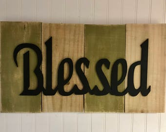Blessed Rustic Sign Primitive Shabby Chic Cabin Lake Decor