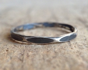 Antique Silver Marquise Ring, Sterling Silver, Hammered Ring, Girlfriend Gift, Diamond Band, Gift For Her, Bohemian Jewelry