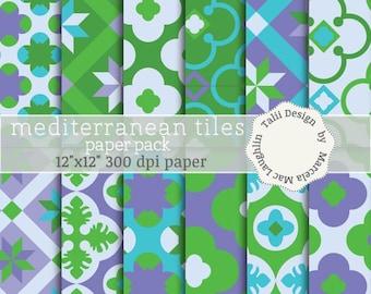 Mosaicos Mediterráneos PAPEL DIGITAL- Papeles con antiguos mosaicos en colores verde, violeta, turquesa, offwhite, para albumes, tarjetas