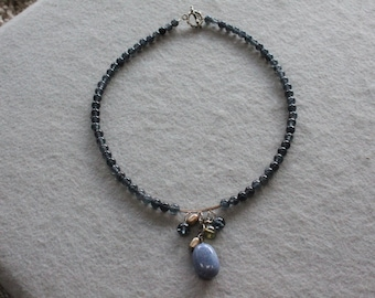 Free Shipping Blue Crystal Beaded Necklace.