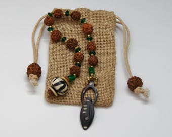 Prayer Chaplet with Bone Goddess and Feather / One of a Kind