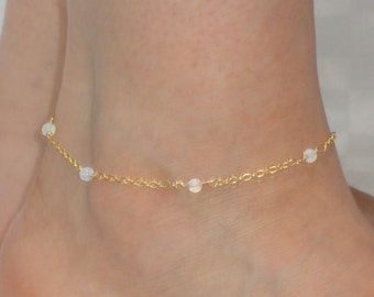 Moonstone anklet, Gold moonstone ankle bracelet, Gold anklet, Moonstone ankle jewelry, Foot bracelet, Ankle bracelet UK