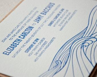 Modern Ocean Wedding Invitation, Cape Cod, East Coast, Ocean, Seaside