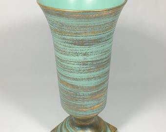 Stangl Pottery Aqua Gold Large Flared Vase, Gold Brush Over Blue Pottery Vase