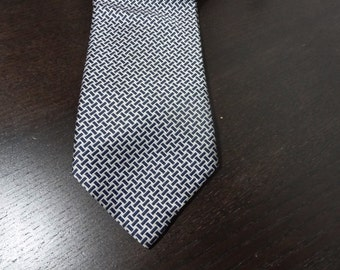 Vintage Men's Black and White Lattice Design Necktie - John Blair - 100% Dacron Polyester