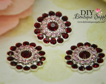Two Tone RED and PINK Crystal Rhinestone buttons - Flatback Crystal Embellishment for flower centers -  5 pcs 22mm 313044