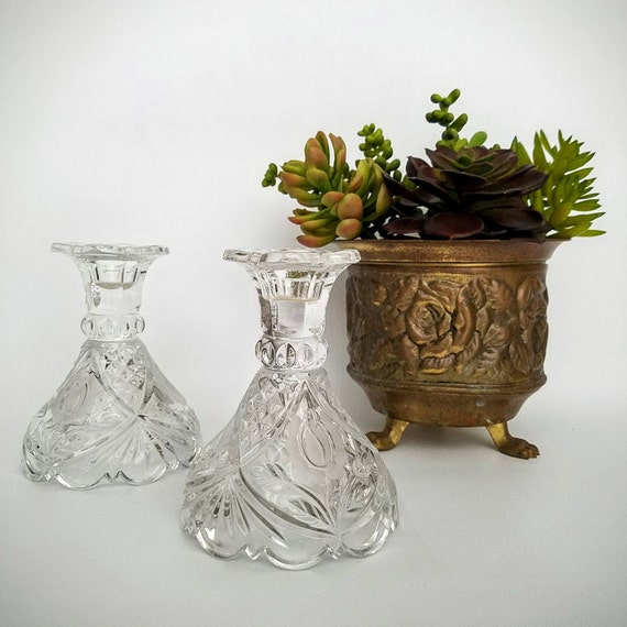 "Pair Crystal Candlesticks Candle Holders Lead Crystal Matching Set-""Ships International"" Email For Rates"