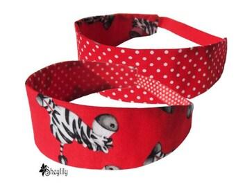 Red Zebra Headband - Polka Dot Headband - Zebra Bandeau - Zebra Bandana - Novelty Headband - Reversible Headband - Girls Bandana