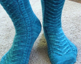 Alice:  Sock Knitting Pattern Toe Up Two at a Time