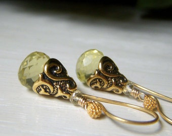 Lemon Quartz Gemstone Earrings, Onion Briolette, Gold Teardrop Earrings, Pale Lemon Yellow Earrings, Genuine Lemon Quartz
