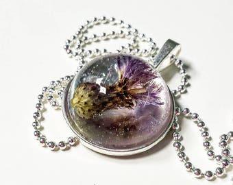 Women's necklace with a pendant containing thistle flower. Pendant diameter 2.5, total length 4 cm