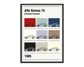 Graphic poster Alfa Romeo 75 theme