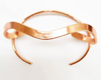 Medium Copper Wave Cuff Bracelet BCCUFF508 Ladies Solid Curvy Copper Cuff Bracelet