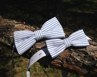 duo bow tie blue and white striped