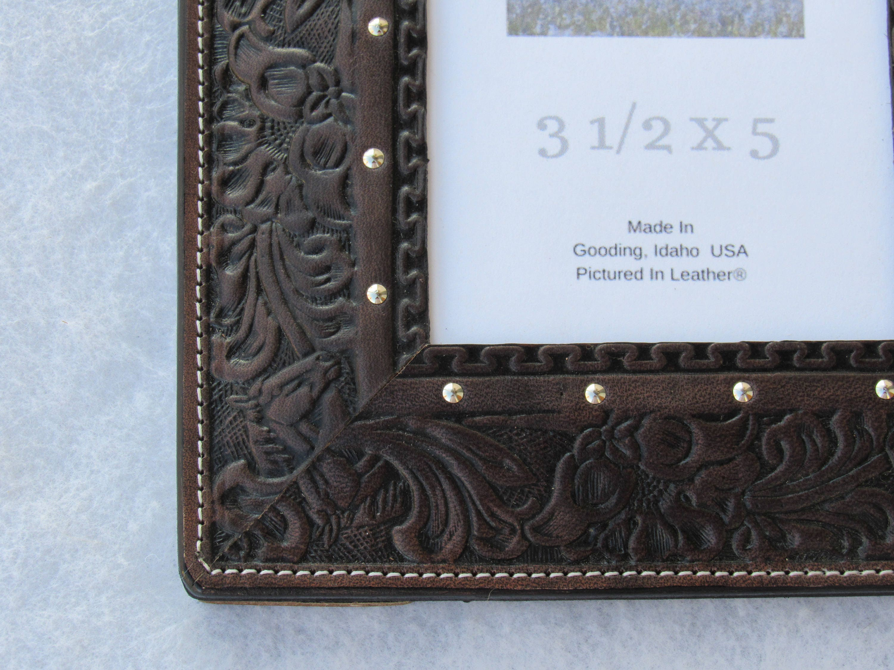 Black leather photo frame, 3-1/2x5, embossed horse and floral ...