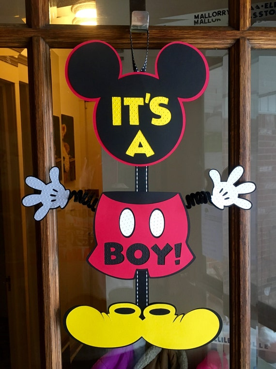 Amazing Mickey Mouse Baby Shower Sign Its A Boy Wiggle Arm Mickey