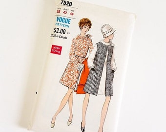 Shop SALE HTF Vintage 1960s Womens Size 38 Mod One Piece Dress and Sleeveless Coat Vogue Sewing Pattern 7520 FACTORY Folds / b42 w34
