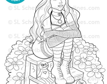 Digital stamp Goth Girl with voodoo dolls digistamp, gothic girl adult coloring page DIY papercrafting