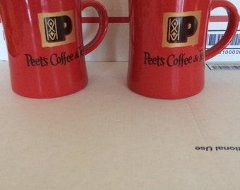Peet's Coffee and Tea Mug By BIA ORANGE Black and Gold Coffee Cup