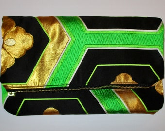 Green and Gold Hexagons Two-way Fold Over Obi Silk Clutch Purse