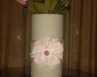 SALE. Painted Floraline Shabby Chic Vase