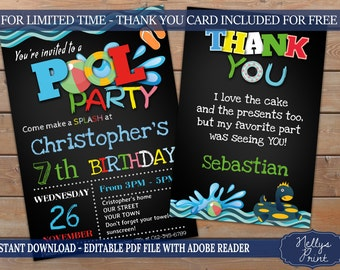 Pool Birthday Invitation & Pool Thank You card, Pool Birthday Invitation, Thank You card, Self Editable PDF file, Instant Download, Set