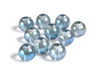 8mm Blue Gray Transparent beads - 8mm round glass bead (1699)