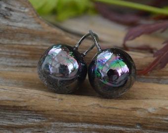 Black Opal- Handmade Porcelain Orbs