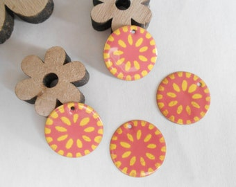 set of 2 sequins rose yellow pattern