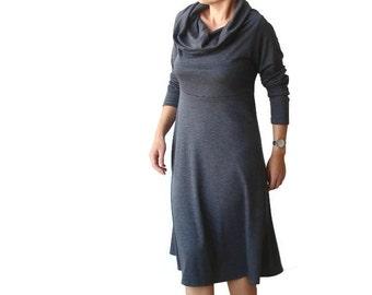 Sweater dress, Womens Winter dress, High waist Jersey dress, Grey dress, Plus size dress, XL dress, XXL dress, Custom Long sleeve dress