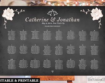 """Seating Chart DIY Wedding Seating Guest Plan Editable PDF Printable Chart Printable Seating Plan diy Wedding Chart PDF 24x36"""" SC06"""