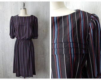 Women's Vintage 70s Sally Lou 3/4 Sleeve Semi-Sheer Black Dress with Blue Red White Vertical Micro Stripes / Elastic Waist // Size M