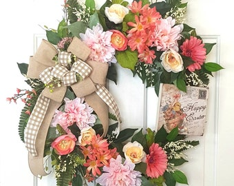 Easter Wreath, Floral Wreath, Floral Grapevine Wreath, Grapevine Wreath, Spring Wreath, Everyday Wreath, Front Door Wreath