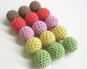 Crocheted beads 18mm handmade round set of 15, colourful mix