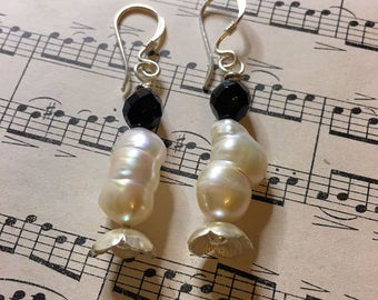 OOAK Baroque Pearl Silver and Jet Earrings