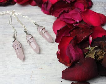 Rose Quartz Pendant, Bohemian Necklace, Boho Jewelry, Rose Quartz Point Necklace, Rose Quartz Necklace, Rose Quartz Jewelry