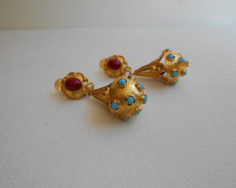 The Glory of BYZANTIUM,vintage goldplated silver earings