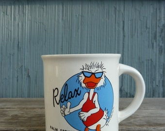 Relax Mug featuring a party duck, Palm Springs California, vintage funny coffee mug, 80s style
