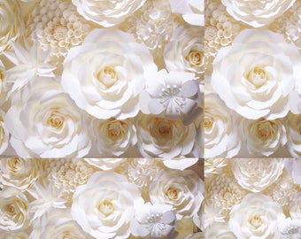 Paper flower backdrop white off ivory color