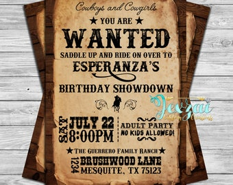 Western Birthday Invitation | Rustic Birthday Invitation | Cowboy Birthday | Cowgirl Birthday |